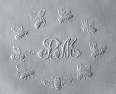 monogrammed antique linen