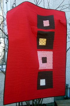 Modern  Quilt for sale, Red and Brown Cottage in the Woods Quilt. on Etsy, $125.00
