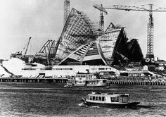The Sydney Opera House under construction in 1965.