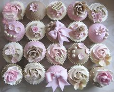 Roses, bows, hearts & flowers birthday cupcakes by www.homebakedheaven.co.uk