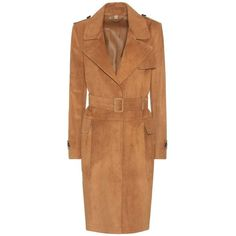 Burberry London Hawkesley Suede Trenchcoat ($5,125) ❤ liked on Polyvore featuring outerwear, coats, brown, beige coat, burberry trenchcoat, beige trench coat, brown suede coat and burberry