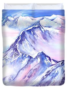 Mountains - Above the clouds No. 1 Duvet Cover for Sale by Sabina Von Arx Painting Snow, Watercolor Art Paintings, Colorful Paintings, Original Paintings, Soft Pastel Art, Pastel Drawing, Pastel Colors, Snow Scenes, Winter Scenes