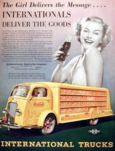 Coca-Cola Delivered By Yellow Int Truck 1938 Girl - Mad Men Art: The 1891-1970 Vintage Advertisement Art Collection