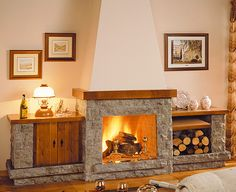 Like this double sided fireplace with shelves but on a smaller scale Spanish Design, Spanish Style Homes, Rustic Fireplaces, Modern Fireplace, Double Sided Fireplace, Fireplace Shelves, Electric Fireplace, Miniature Furniture, Decoration