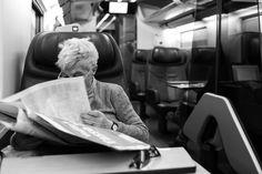 #train #newspaper #travel #journey #oldstyle #street #photography #leica #black #white #trip #monochrom #35mm