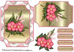 Pink Hibiscus  on Craftsuprint designed by Deborah Davies - Pink hibiscus on a decorative cardfront with decoupage and text plates. Please click on my name for more designs added daily. - Now available for download!