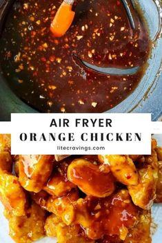 Air Fryer Orange Chicken   Lite Cravings   WW Recipes Air Fryer Oven Recipes, Air Frier Recipes, Air Fryer Dinner Recipes, Air Fryer Recipes Asian, Air Fryer Chicken Recipes, Ww Recipes, Asian Recipes, Healthy Recipes, Light Recipes