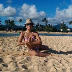 Elizabeth, a client at The Bar Method Montclair, does pretzel on a beach in Hawaii while on her honeymoon. Beautiful! #WhereDoYouBar? #barmethod #pretzel