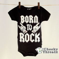 Born To Rock Silver Onesie Baby Romper Cool Rock Toddler infant clothing