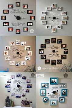 Time Spent With Family Is Worth Every Second - Photo Wall Clock # DIY Home Decor frames Time Spent with Family is Worth Every Second - Photo Wall Clock - Uppercase Living - Candy McSween, Director & Independent Demonstrator Unique Wall Decor, Diy Wall Decor, Diy Room Decor, Living Room Decor, Bedroom Decor, Home Decor, Wall Clock Decor, Living Rooms, Diy Clock