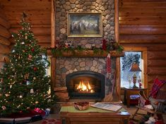 Inspiring Rustic Christmas Fireplace Ideas To Makes Your Home Warmer 14 Log Cabin Christmas, Christmas Fireplace, Rustic Christmas, Christmas 2019, Christmas Christmas, Polo Norte, Santa Claus House, Rustic Stone, Rustic Wood