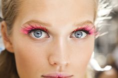 Neon pink false lashes