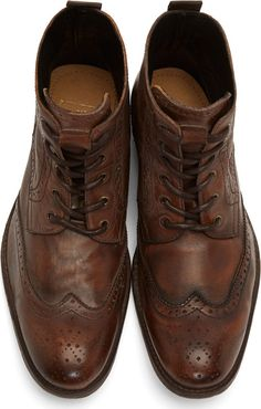H by Hudson Brown Leather Wingtip Angus Boots