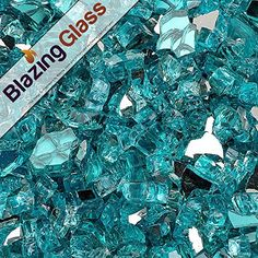 Golden Flame® 10-Pound Fire Glass 1-Inch Caribbean Blue Reflective Fire-Diamonds