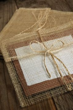 burlap envelopes.