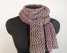 how gorgeous ..I love open work like that .. Lacy Knit Scarf in Pastel TonalDyed Lightweight by KnotChaCha,