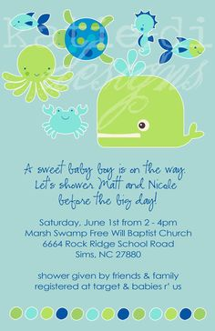 Underwater baby shower invitations paperinvite ocean baby shower invitation beach invite s filmwisefo