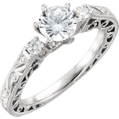 Item #: 69806:102:P A 14kt White 1/10 CTW Diamond Hand Engraved Engagement Base Size 6  pretty