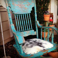 Cowhide swivel chair