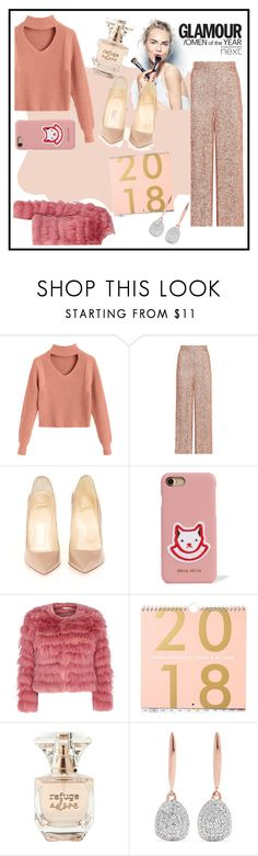 """""""First Set of 2018"""" by giusynole on Polyvore featuring Goody, Sephora Collection, Temperley London, Christian Louboutin, Miu Miu, Alice + Olivia, Refuge and Monica Vinader"""