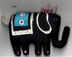 Wool Felt Elephant Christmas Ornament, Fair Trade Elephant Christmas Ornament. Rupalee