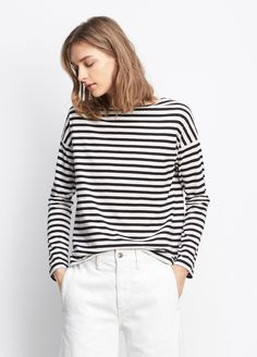 Striped Long Sleeve Boat Neck Tee // Vince