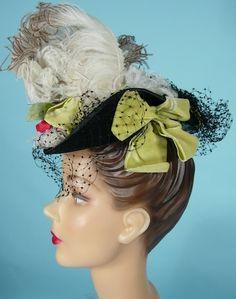 "1940's GEORGE BEIGEL, Paris, New York Black Felt ""Toy"" (""Tilt"") Hat with Feathers, Velvet Ribbons and Flowers!"