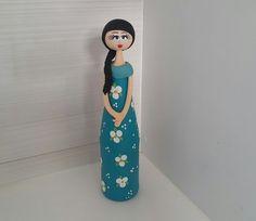 Garrafa Boneca florida - azul petroleo - Sonharteira