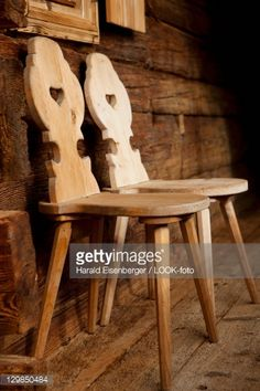 Stock Photo : Two rustic, wooden chairs in front of a wooden house, Alpine house, Tyrol, Austria
