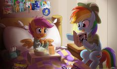 - Scootaloo being sick but excited in that way that only Scootaloo gets because Rainbow Dash reading is reading the latest copy of Daring Do to her. And Then Daring Do. My Little Pony List, My Little Pony Pictures, My Little Pony Friendship, Mlp Characters, Fanart, Mlp Fan Art, Little Poney, Imagenes My Little Pony, Pony Drawing