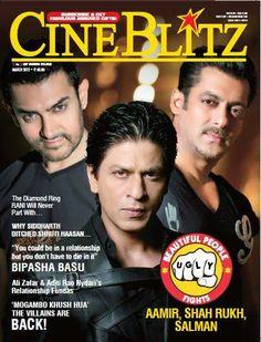 SRK, Salman Khan and Aamir Khan - Cine Blitz magazine cover March 2012
