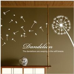 Hight 117cm Beautiful Dandelion Words  Nature Vinyl Wall Paper Decal Art Sticker Q849
