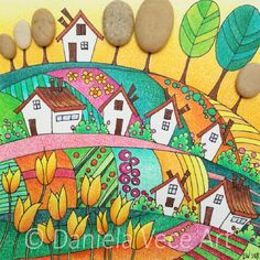 Landscape with yellow tulips, houses and stones. Digital Art Tutorial, Markers, Mosaic, Art, Art Tutorials