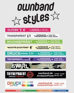 """mit ownBand auf Style-Touch gehen. Bei uns finden Sie die angesagtesten Styles... von """"nachtsleuchtenden""""-Armbändern zum coolen Swirl-Effekt. Gestalten Sie Ihr individuelles Armband ganz nach Ihrem Geschmack...Los gehts!!! #ownband #silikonarmband #diy #armbandstyles #create #accesoires"""