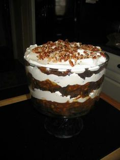 I saw Paula make this today and I so want to try it!  Paula Deen s Turtle Trifle from Food.com: This is wonderful and so easy to make. I wanted to try it out for Christmas and made this and talk about good. I got this recipe from Paula Deen's Christmas magazine. This is not for those watching calories.
