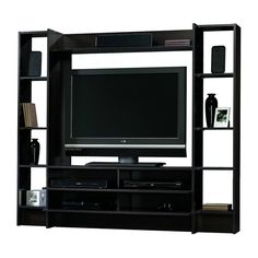 """TV Stand Entertainment Wall System Adjustable Display Shelves Dark Cherry 42"""" TV #SWCo #Contemporary"""