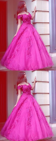 This dress could be custom made, there are no extra cost to do custom size and color, Princess Fuchsia Tulle Off-the-Shoulder Ball Gown Sweetheart Lace Appliques Prom Dresses Prom Dresses 2018, Ball Gowns Prom, Tulle Prom Dress, Cheap Prom Dresses, Quinceanera Dresses, Bridal Dresses, Lace Dress, Gown Dress, Formal Dresses