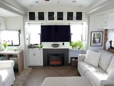 Less the tv. No TV in my camper! RV Renovation Rear less Entertainment