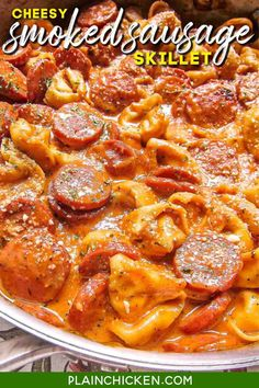 Cheesy Smoked Sausage Skillet - smoked sausage, tomato sauce, chicken broth, heavy cream, refrigerated cheese tortellini, and parmesan. Everything cooks in the same pan! Even the pasta!! SO easy and super delicious! We ate this 2 nights in a row. #onepot #noboil #smokedsausage #pasta Sausage Recipes For Dinner, Smoked Sausage Recipes, Pork Recipes, Pasta Recipes, Cooking Recipes, Smoked Sausages, Salad Recipes, Chicken Recipes, Bon Appetit