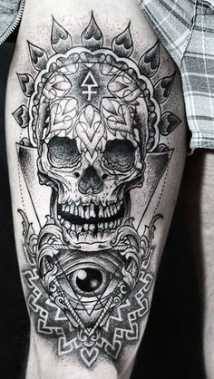 Skull Upper Leg Tattoo