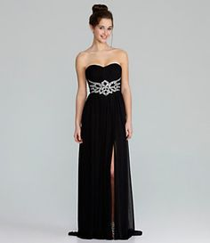 Jodi Kristopher Strapless Beaded Dress | Dillard's Mobile
