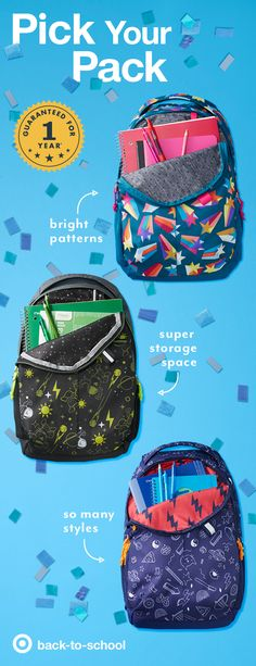 These Cat & Jack backpacks have it all, with back to school details and style for all. Rainbow Shooting Stars, Hot Pink Stripes and Out Space Explorers—there's a look perfect for every student. These bags are big on quality details too, like rugged zippers, comfortable padding, colorful inside fabric and inspiring messages printed on the back—all covered by Cat & Jack's 1-year quality guarantee.