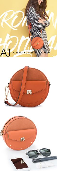 5e3cc93ccb5e Unique Leather Circle Bag Orange Circle Purse Crossbody Handbag Clutch Bags  Purse Crossbody