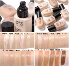 Makeup Idea 2017/ 2018      SWATCHES of the NEW Makeup Forever Water Blend face and body foundation! Lightweight formula, with 80% vitamin enriched water to keep your skin hydrated. Enriched with pro-vitamin B5 and its waterproof!! Sheer satiny coverage. 20 shades $43 each... #MakeUp