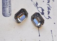 Two Vintage 8 X 10mm Octagon Swarovski crystals, Black Diamond $4.00 #thecraftstar #vintage #swarovski #crystal #octagon #cabochon #black #diamond
