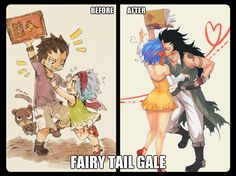 Gale before and after They're so cute Gale Fairy Tail, Fairy Tail Art, Fairy Tail Guild, Fairy Tail Ships, Couples Fairy Tail, Fairy Tail Family, Fairy Tale Anime, Fairy Tales, Gajeel Et Levy