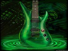 Green guitar - credit to: pinterest.com/stevejd