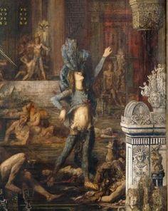 """Gustave Moreau, """"Les Prétendants"""", détail, huile sur toile, Paris, musée Gustave Moreau. Le sujet est tiré du Chant XXII de L'Odyssée. Ulysse, de retour à Ithaque massacre les jeunes princes qui pendant son absence courtisaient Pénélope, son épouse."""