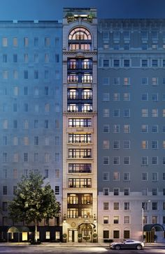 "The exterior of the tower, which comprises eight homes, ranging from full-floor apartments to duplexes, a ground-level townhouse, and a top-level penthouse. ""This building is for a discerning and sophisticated buyer who wants to live in a residence that evokes the feeling of a European townhome,"" says Linda Pinto."