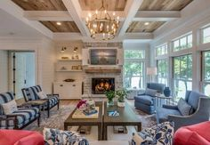 Beautiful Farmhouse Living Room Ideas! Find some of the best farmhouse themed living room decorations and designs that you can use for inspiration. We have modern farm home living rooms and more. Rustic Sunroom, Living Room New York, Modern Farmhouse Design, Farmhouse Decor, Coastal Farmhouse, Living Room Storage, Family Room Design, Beautiful Living Rooms, Living Room Pictures